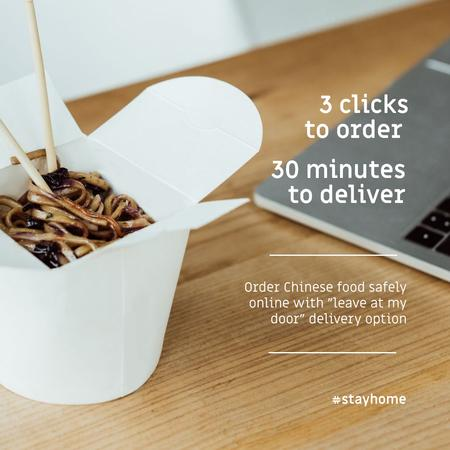 Plantilla de diseño de #StayHome Delivery Services offer with Noodles in box Instagram