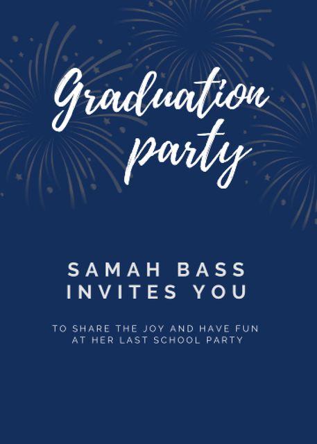 Plantilla de diseño de Graduation Party Announcement with Bright Fireworks Invitation