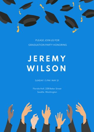 Graduation Party Announcement with Students throwing Hats Invitation – шаблон для дизайну