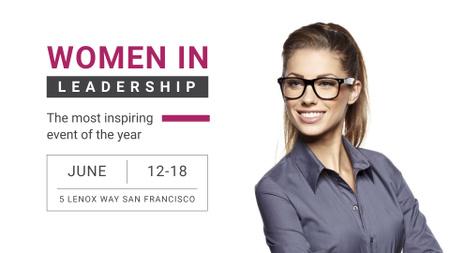 Ontwerpsjabloon van FB event cover van Business Event Announcement Smiling Businesswoman