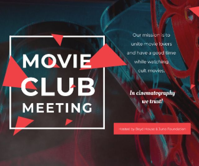 Ontwerpsjabloon van Large Rectangle van Movie Club Invitation with Vintage Film Projector