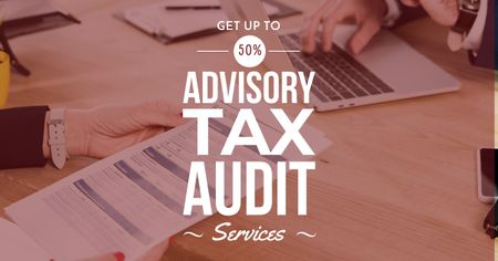 Ontwerpsjabloon van Facebook AD van Advisory Tax Audit Services Offer