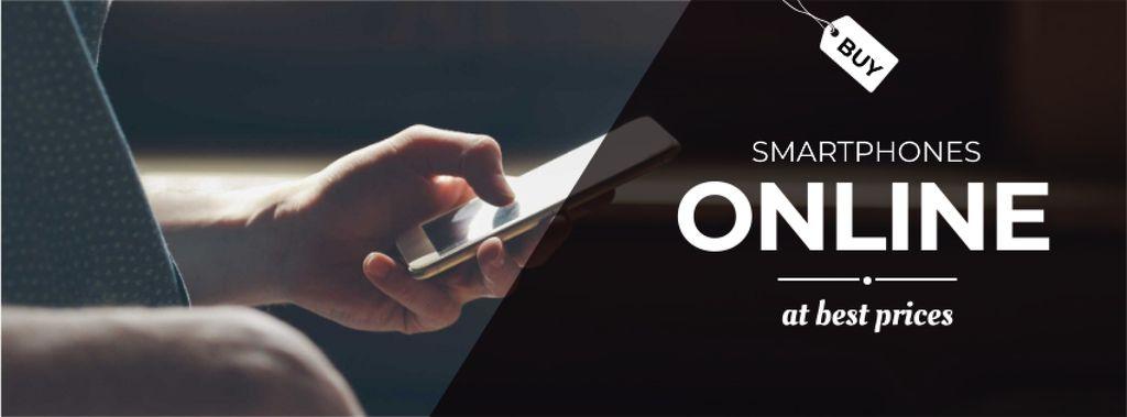 Online smartphone store with Man typing on screen — Modelo de projeto