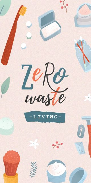 Zero Waste Concept with Eco Products Graphicデザインテンプレート