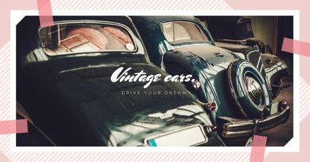 Shiny vintage cars Facebook ADデザインテンプレート