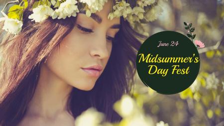 Midsummer Day Festival with Girl in Flower Wreath FB event cover – шаблон для дизайну