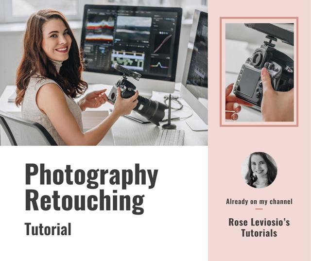Retouching Services Woman Working on computer Facebook – шаблон для дизайну