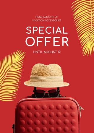 Modèle de visuel Travelling Accessories Sale with Suitcase and Hat in Red - Poster