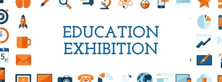 Education Exhibition Bright Sciences Icons Facebook cover – шаблон для дизайну