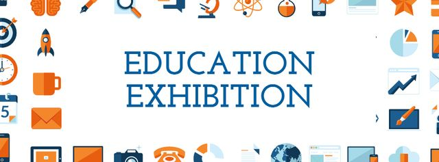 Education Exhibition Bright Sciences Icons Facebook cover – шаблон для дизайна