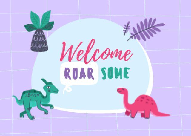 Welcome Phrase with Cute Dinosaurs Card – шаблон для дизайна