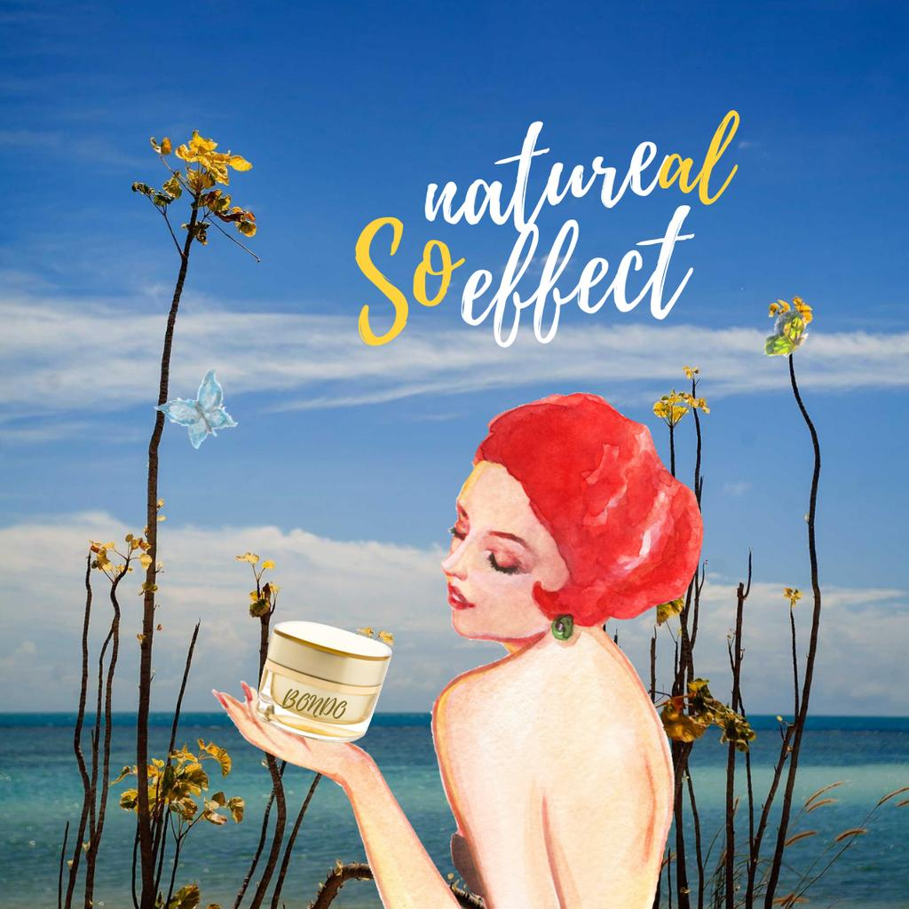 Natural Cosmetic Cream Offer with Woman Illustration Instagramデザインテンプレート