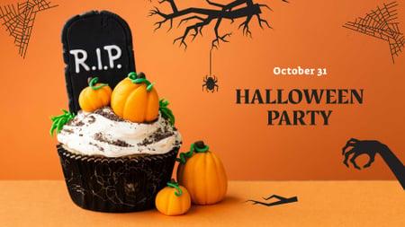 Halloween Party Announcement with Pumpkin Cookies FB event cover Modelo de Design
