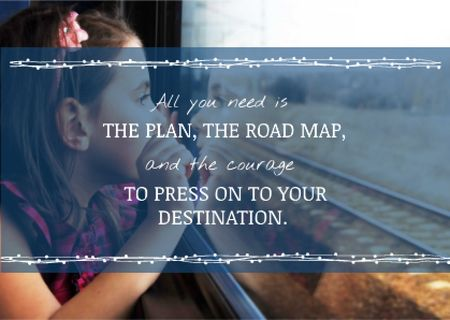 Motivational travel quote with Little Girl Card Design Template