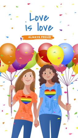 Ontwerpsjabloon van Instagram Story van Women holding hands on Pride Month