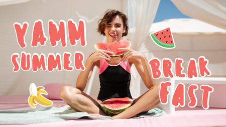 Ontwerpsjabloon van Youtube Thumbnail van Summer Breakfast Inspiration with Girl holding Watermelon