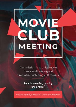 Plantilla de diseño de Movie Club Meeting Vintage Projector Invitation