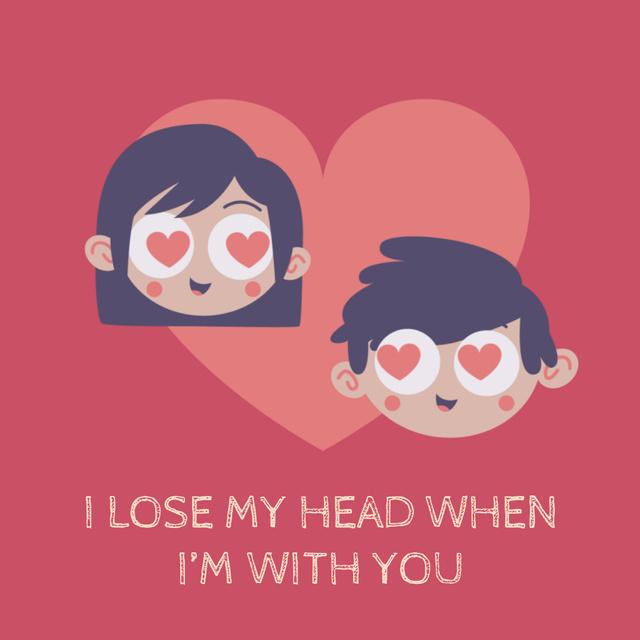 Plantilla de diseño de Couple in Heart-shaped frame for Valentine's Day Animated Post