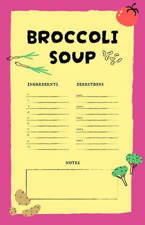 Template di design Broccoli Soup Cooking Steps Recipe Card