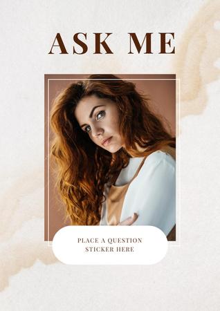 Plantilla de diseño de Question Form with Attractive Woman in white Poster