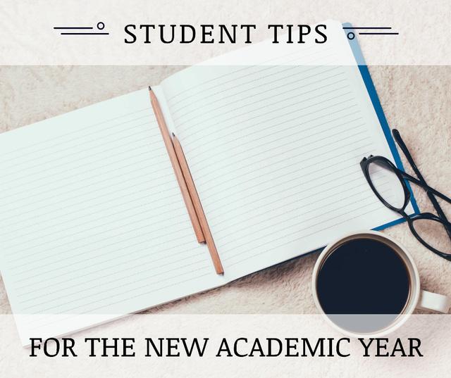 Student Tips Open Notebook and Coffee Facebook Tasarım Şablonu