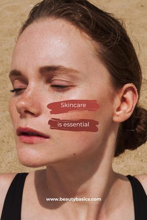 Plantilla de diseño de Skincare Offer with Beautiful Young Woman Pinterest