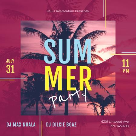 Summer Party Invitation Palms at Sunset Instagram – шаблон для дизайна