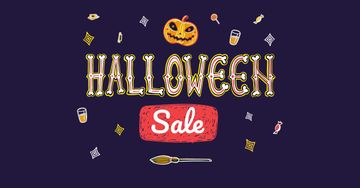 Halloween Sale with Scary Pumpkin