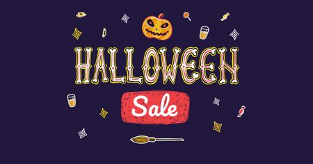 Plantilla de diseño de Halloween Sale with Scary Pumpkin Facebook AD