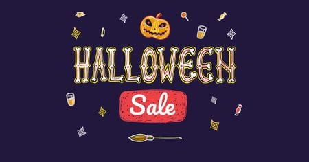 Template di design Halloween Sale with Scary Pumpkin Facebook AD