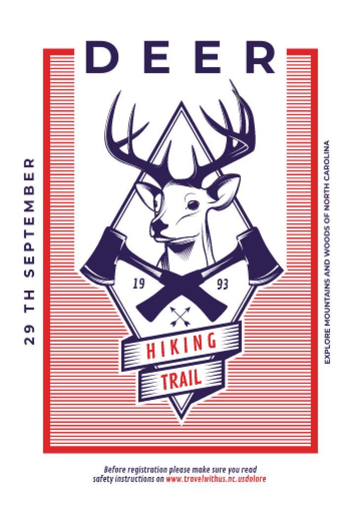 Hiking Trail Ad Deer Icon in Red — Modelo de projeto