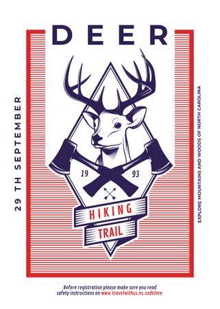 Plantilla de diseño de Hiking Trail Ad Deer Icon in Red Flayer