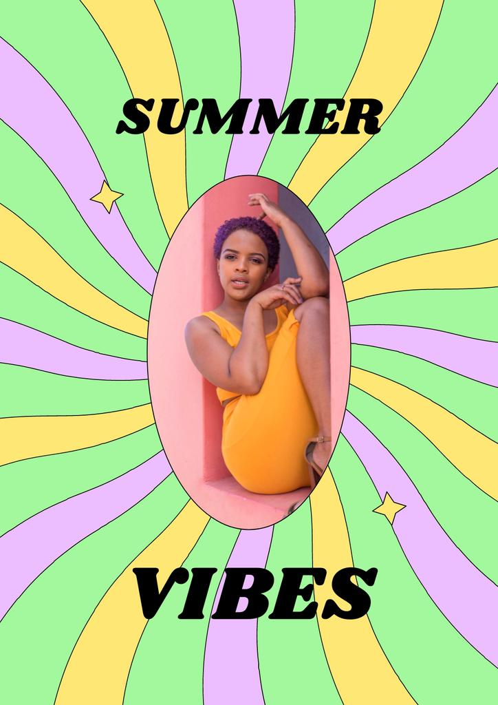 Summer Inspiration with Cute Young Girl Poster – шаблон для дизайна