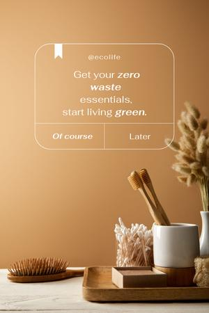Zero Waste Concept with Wooden Toothbrushes Pinterest Design Template