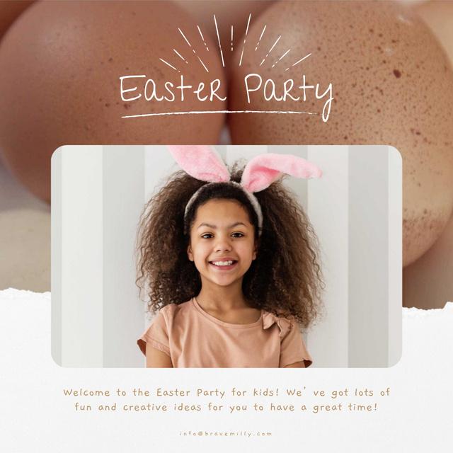 Plantilla de diseño de Easter Girl in Bunny Ears Animated Post