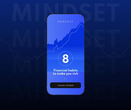 Plantilla de diseño de Finance Podcast promotion on phone screen Facebook