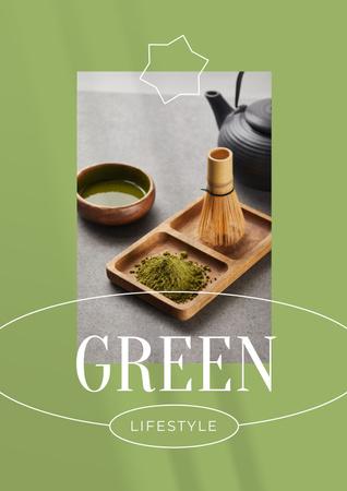 Plantilla de diseño de Green Lifestyle Concept with Tea in Cups Poster