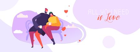 Ontwerpsjabloon van Facebook Video cover van Couple drinking Coffee on Valentine's Day