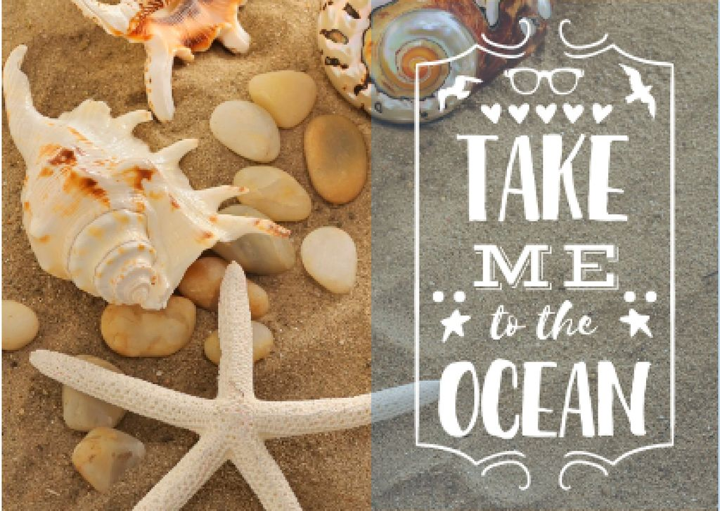 Seashells on Sand with Quote — Crear un diseño