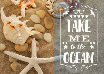 Seashells on Sand with Quote