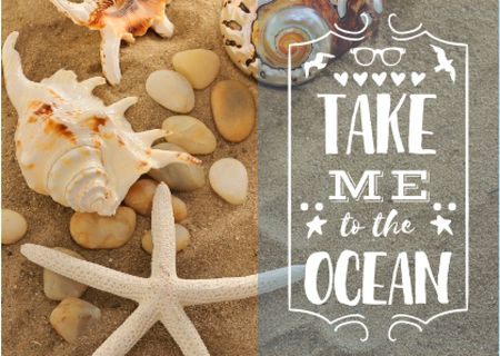 Seashells on Sand with Quote Card Modelo de Design