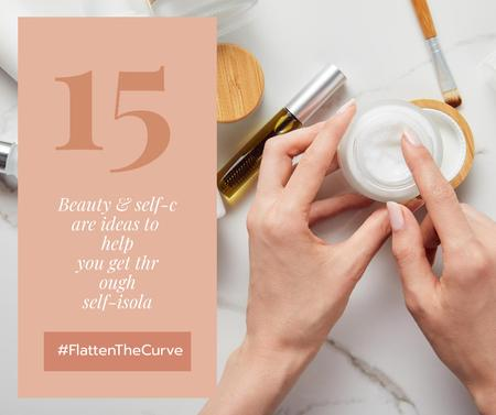 Plantilla de diseño de #FlatenTheCurve Beauty ideas during Quarantine Facebook