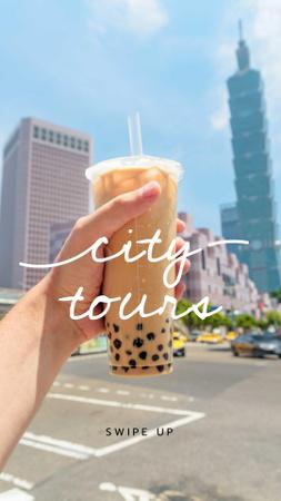 Ontwerpsjabloon van Instagram Story van City Walk with Bubble tea