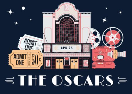 Plantilla de diseño de Annual Academy Awards Announcement Postcard