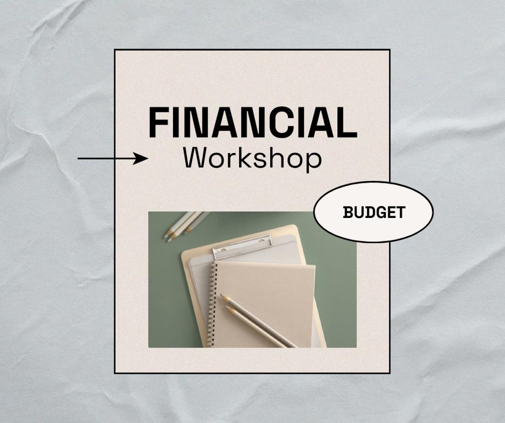 Financial Workshop promotion with Notebook Facebook – шаблон для дизайну