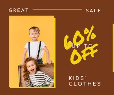 Template di design Kids' Clothes Sale Happy Little Kids Large Rectangle