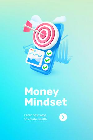 Phone with coins for Money Mindset Pinterest Design Template