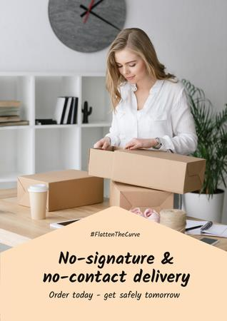 #FlattenTheCurve Delivery Services offer Woman with boxes Poster – шаблон для дизайна