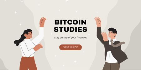 Plantilla de diseño de Cryptocurrency Guide offer with smiling Businesspeople Twitter