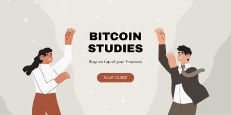 Cryptocurrency Guide offer with smiling Businesspeople Twitter Modelo de Design